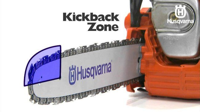 Kickback of an Husqvarna chainsaw