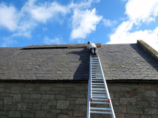 An extension ladder must extend beyond the roof