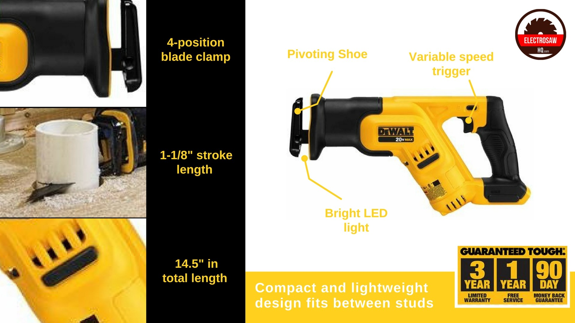 DEWALT DCS387B Reciprocating Saw Features