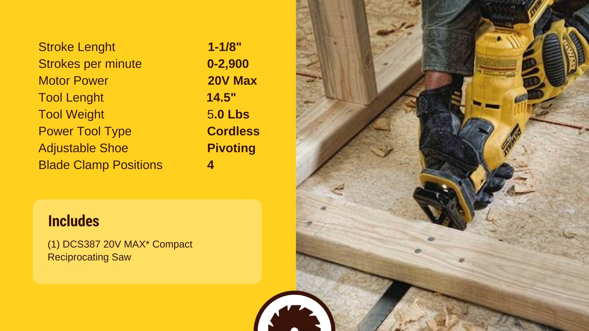 DEWALT DCS387B Reciprocating Saw Specs