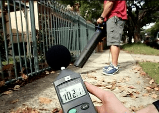Battery Powered Leaf Blower Reviews device measuring leaf blower's noise