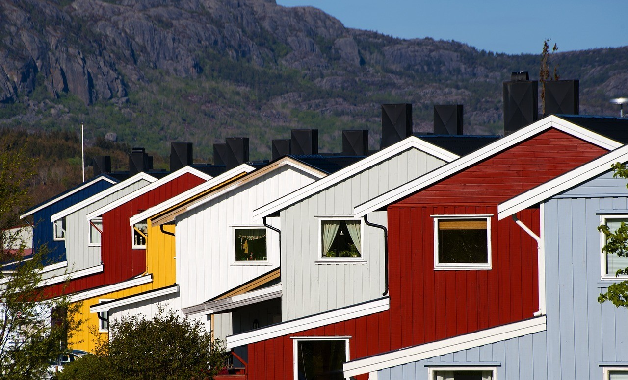 a series of colorful houses
